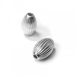 Perlina Ovale Scanalata in Argento 925 8mm (Ø 2.1mm)