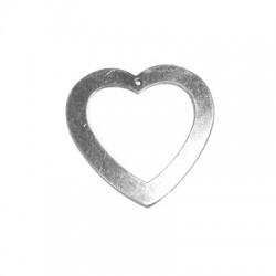 Silver 925 Heart 1 Hole 30mm