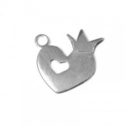 Ασήμι 925 Μοτίφ Καρδιά με Κορώνα 20x26mm