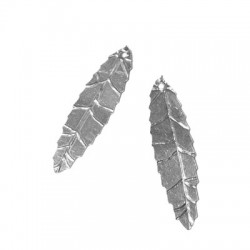 Silver 925 Leaf Plain 35x10mm