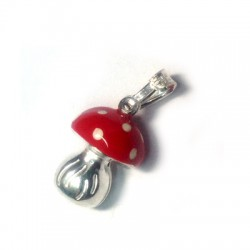 Silver 925 Enamel Mushroom 15x10mm