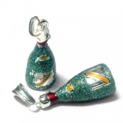 Silver 925 Enamel bottle 23x10mm