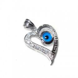 Ασήμι 925 Μοτίφ Καρδιά Μάτι με Swarovski 27mm