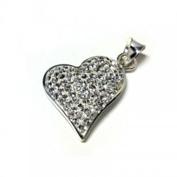 Ασήμι 925 Μοτίφ Καρδιά με Swarovski 15mm