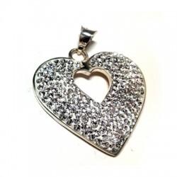 Ασήμι 925 Μοτίφ Καρδιά με Στρας 26x28mm