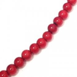 Perlina Liscia di Corallo Sintetico ~6mm (~68pz/filo)
