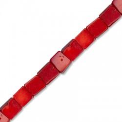 Κοράλι Μπαμπού Χάντρα Κυβάκι 9-10mm (~44τμχ/κορδόνι)