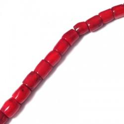 Κοράλι Μπαμπού Χάντρα Σωληνάκι (~11x12mm) (~20τμχ/κορδόνι)