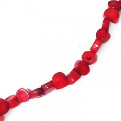 Distanziatore di Corallo Perlina Schiacciata Irregolare 7.5x7x4.5mm (~57pz/filo)