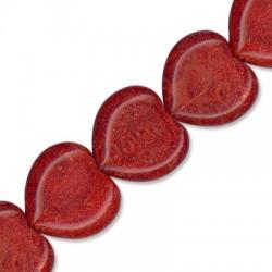 Κοράλι Μπαμπού Στοιχείο Καρδιά Περαστή 24mm (~19τμχ/κορδόνι)