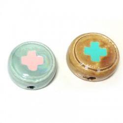 Enamel Ceramic Slider Round 16mm with Cross (Ø 2.8mm)