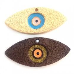 Ciondolo di Ceramica Occhio Portafortuna Smaltato 63x27mm (Ø 3mm)