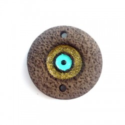Connettore di Ceramica Rotondo con Occhio Portafortuna Smaltato 63x27mm (Ø 3mm)