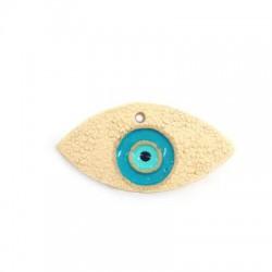 Ciondolo in Ceramica Occhio Portafortuna Smaltato 44x23mm (Ø 2.5mm)