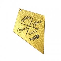 """Ciondolo in Alluminio Diamante con scritta """"Ocean Vibes"""" 33x51mm"""
