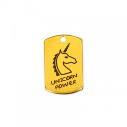 "Brass Tag ""Unicorn Power"" 15x25mm"
