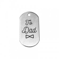 "Brass Tag Pendant ""To dad"" 20x37mm"