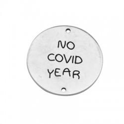 """Μεταλλικό Μπρούτζινο Στρογγυλό Γούρι """"No covid"""" 25mm(Ø1.4mm)"""