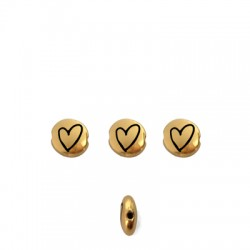 Zamak Bead Round Heart 7.6mm/3.3mm (Ø1.1mm)