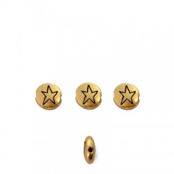 Zamak Bead Round Star 7.6mm/3.3mm (Ø1.1mm)