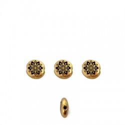 Zamak Bead Round Mandala 7.6mm/3.3mm (Ø1.1mm)