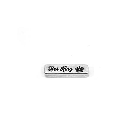 """Μεταλλική Μπρούτζινη Μπάρα """"Her King"""" 20x5mm (Ø2.5mm)"""