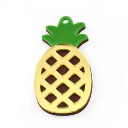 Wooden w/ Plexi Acrylic Pendant Pineapple 26x50mm