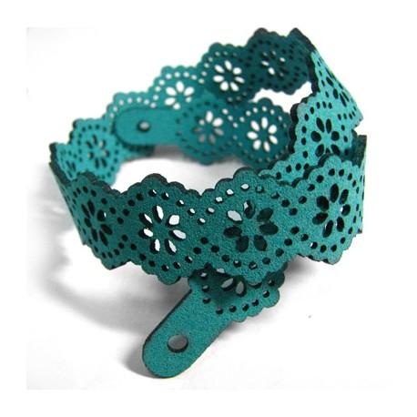 Bracelet en Suédine avec Fleurs 34cm