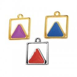 Metal Zamak Cast Charm Square with enamel triangle 13mm