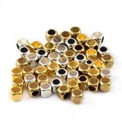 Brass Square Bead 4mm (Ø2.5mm)