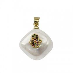 Sea Shell Pearl Charm Rhombus Hamsa Hand w/ Zircon 15mm