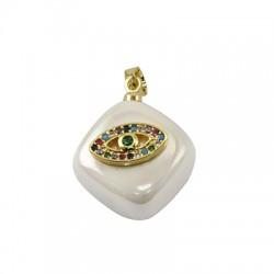 Charm di Perla di Madreperla Rombo con Occhio Zirconi 15mm
