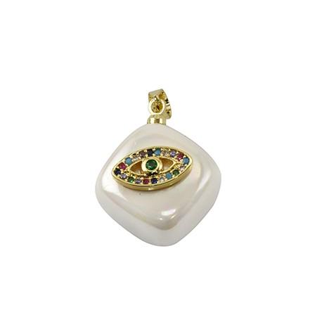 Sea Shell Pearl Charm Rhombus Evil Eye w/ Zircon 15mm