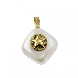 Sea Shell Pearl Charm Rhombus Star w/ Zircon 15mm