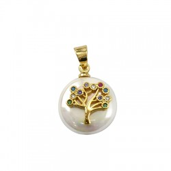 Sea Shell Pearl Charm Round Tree of Life w/ Zircon 14mm