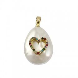Charm di Perla di Madreperla Goccia con Cuore Zirconi 18x24mm