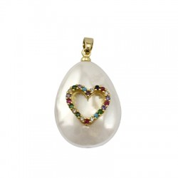 Sea Shell Pearl Charm Drop Heart w/ Zircon 18x24mm