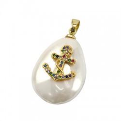 Charm di Perla di Madreperla Goccia con Ancora Zirconi 18x24mm