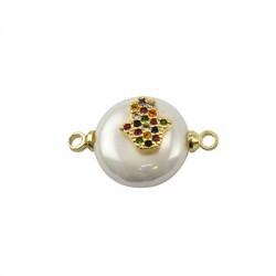 Connettore di Perla di Madreperla Rotondo con Mano di Fatima Zirconi 12mm