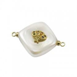 Connettore di Perla di Madreperla Rombo con Conchiglia Zirconi 15mm