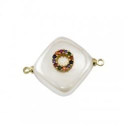 Connettore di Perla di Madreperla Rombo con Cerchio Zirconi 15mm