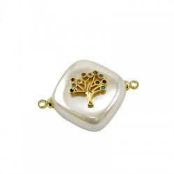 Fresh Water Pearl Connector Rhombus Tree Life w/ Zircon 15mm