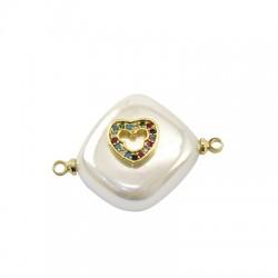 Connettore di Perla di Madreperla Rombo con Cuore Zirconi 15mm
