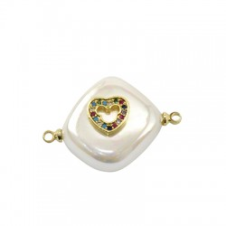 Fresh Water Pearl Connector Rhombus Heart w/ Zircon 15mm