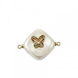 Connettore di Perla di Madreperla Rombo con Farfalla Zirconi 15mm