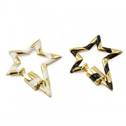 Brass Clasp Lock-Locket Star w/ Enamel 22x28mm