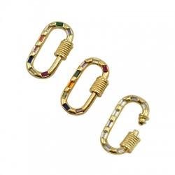 Brass Clasp Lock-Locket Oval w/ Strass 12x23mm