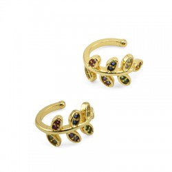 Brass Ear Cuff Leaf w/ Zircon 12x13mm/7.8mm