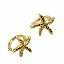 Brass Ear Cuff Starfish w/ Zircon 12mm/11mm