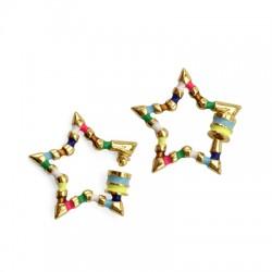 Brass Clasp Lock-Locket Star w/ Enamel 27mm